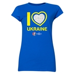 Ukraine Euro 2016 Heart Junior Women's T-Shirt (Royal)