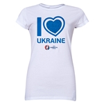 Ukraine Euro 2016 Heart Junior Women's T-Shirt (White)