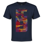 Barcelona Fractal Youth T-Shirt (Navy)