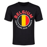 Belgium Euro 2016 Flag Youth T-Shirt (Black)