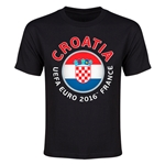 Croatia Euro 2016 Flag Youth T-Shirt (Black)