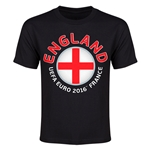 England Euro 2016 Flag Youth T-Shirt (Black)