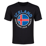 Iceland Euro 2016 Flag Youth T-Shirt (Black)