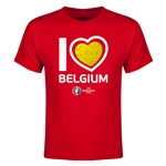 Belgium Euro 2016 Heart Youth T-Shirt (Red)