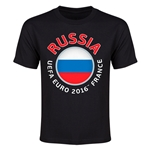 Russia Euro 2016 Heart Youth T-Shirt (Black)