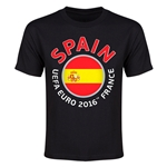Spain Euro 2016 Heart Youth T-Shirt (Black)