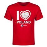 Poland Euro 2016 Heart Youth T-Shirt (Red)