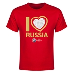 Russia Euro 2016 Heart Youth T-Shirt (Red)