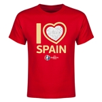 Spain Euro 2016 Heart Youth T-Shirt (Red)