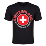 Switzerland Euro 2016 Heart Youth T-Shirt (Black)