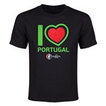 Portugal Euro 2016 Heart Youth T-Shirt (Black)