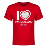 Switzerland Euro 2016 Heart Youth T-Shirt (Red)