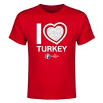Turkey Euro 2016 Heart Youth T-Shirt (Black)