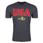 CONCACAF Gold Cup 2015 USA Big Logo Men's Fashion T-Shirt (Dark Grey)