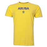 Aruba CONCACAF Distressed Men's Fashion T-Shirt (Yellow)