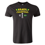Brazil FIFA Confederations Cup 2013 Champions Men's Fashion T-Shirt (Black)