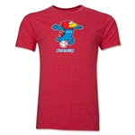 1998 FIFA World Cup Footix Men's Mascot Logo T-Shirt (Heather Red)