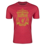 Liverpool Distressed Crest Men's Fashion T-Shirt (Heather Red)