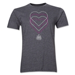 Newcastle United Heart Men's Fashion T-Shirt (Dark Gray)