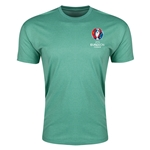 Euro 2016 Crest Men's Fashion T-Shirt (Heather Green)