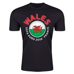 Wales Euro 2016 Men's Fashion T-Shirt (Black)