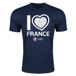 France Euro 2016 Men's Heart T-Shirt (Navy)