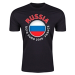 Russia Euro 2016 Men's Fashion T-Shirt (Black)