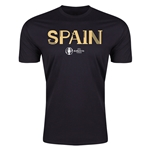 Spain Euro 2016 Men's Fashion T-Shirt (Black)