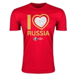 Russia Euro 2016 Men's Heart T-Shirt (Red)