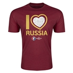 Russia Euro 2016 Men's Heart T-Shirt (Maroon)