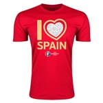 Spain Euro 2016 Men's Heart T-Shirt (Red)