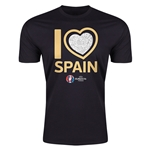 Spain Euro 2016 Men's Heart T-Shirt (Black)