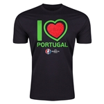 Portugal Euro 2016 Men's Heart T-Shirt (Black)