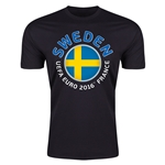 Sweden Euro 2016 Men's Fashion T-Shirt (Black)