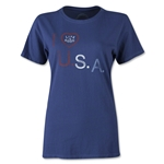 Life is Good Women's Heart USA T-Shirt (Navy)