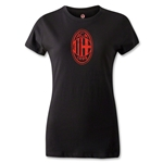 AC Milan Distressed Logo Women's T-Shirt (Black)
