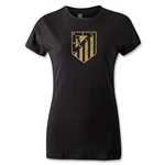 Atletico Madrid Distressed Crest Women's T-Shirt (Black)