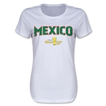 Mexico CONCACAF Gold Cup 2015 Women's Big Logo T-Shirt (White)