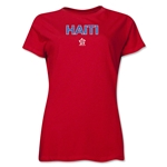 Haiti CONCACAF Distressed Women's T-Shirt (Red)