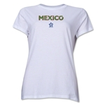 Mexico CONCACAF Distressed Women's T-Shirt (White)