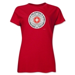 1954 FIFA World Cup Switzerland Women's Historical Emblem T-Shirt (Red)
