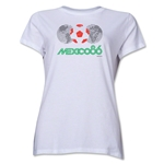 1986 FIFA World Cup Mexico Women's Historical Emblem T-Shirt (White)