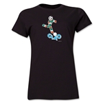 1990 FIFA World Cup Ciao Women's Mascot Logo T-Shirt (Black)