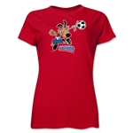 1994 FIFA World Cup Striker Women's Mascot Logo T-Shirt (Red)