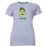 2010 FIFA World Cup Zakumi Women's Mascot Logo T-Shirt (Grey)