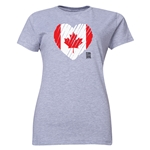 Canada FIFA Women's World Cup Canada 2015(TM) Women's Heart Flag T-Shirt (Grey)