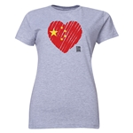 China FIFA Women's World Cup Canada 2015(TM) Women's Heart Flag T-Shirt (Grey)