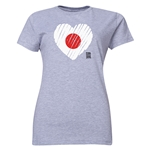 Japan FIFA Women's World Cup Canada 2015(TM) Women's Heart Flag T-Shirt (Grey)