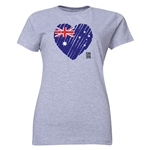 Australia FIFA Women's World Cup Canada 2015(TM) Women's Heart Flag T-Shirt (Grey)