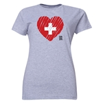Switzerland FIFA Women's World Cup Canada 2015(TM) Women's Heart Flag T-Shirt (Grey)